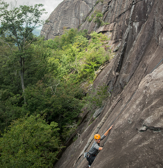 Students from Basecamp Cullowhee's First Ascent Program climbing PantherTown